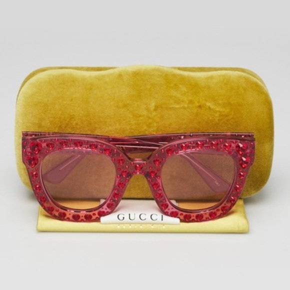 new gg0116s Gucci crystal heart pink sunglasses